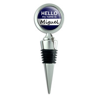 Miguel Hello My Name Is Wine Bottle Stopper