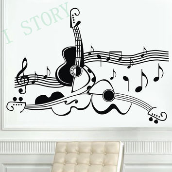 Original design guitar musical instrument vinyl wall decals music guitar wall decor stickers personalized free shipping