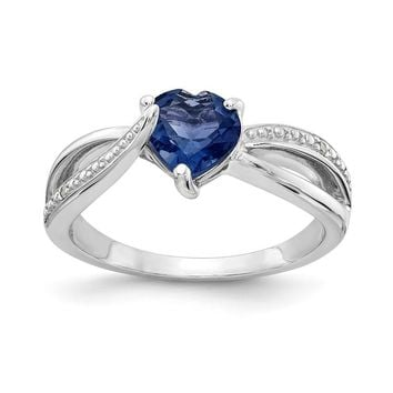Sterling Silver 7mm Heart Created Blue Sapphire Genuine Diamond Accented Infinity Inspired Ring