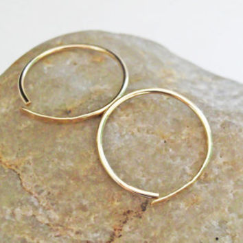 Sleeper Hoop Earrings 14K Gold Filled by KarynHaydenDesigns
