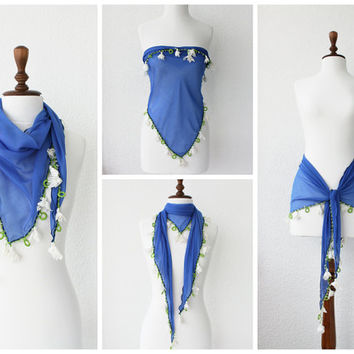 Hand crocheted lace scarf, Blue Cotton Scarf with Ivory Lace, Turban, Pareo, Bandana