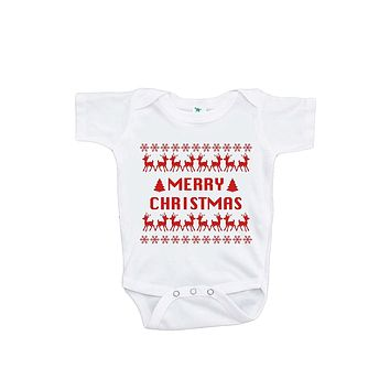 Custom Party Shop Baby's Ugly Sweater Merry Christmas Onepiece