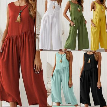Plus-Size Sleeveless O Neck Loose Wide Leg Jumpsuits