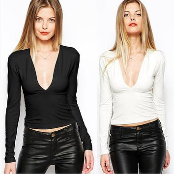 Simple Solid Color Deep V-Neck Long Sleeve Bodycon T-shirt Women Tops