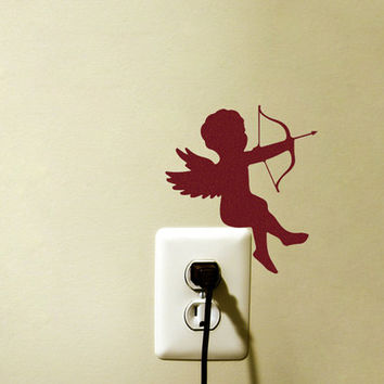 Cupid Angel Velvet Sticker - Romantic Wall Decor - Bedroom Wall Decal - Bow And Arrow Love Wall Art