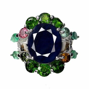 14K White Gold 12.5CT Oval Cut Blue Sapphire Green Emerald Tourmaline Halo Ring