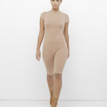 NOW YOU SEE ME BODYCON ROMPER - NUDE