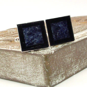 Black and Blue Mosaic Stone Cufflinks - Onyx and Sodalite Cufflinks – Black and Blue Cufflinks
