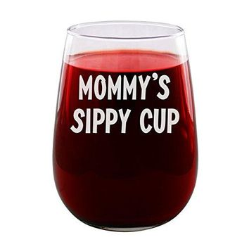 Sandblast Creations Mommyrsquos Sippy Cup  Engraved Wine Glass  Stemless  17oz  Funny Gifts for Men and Women by