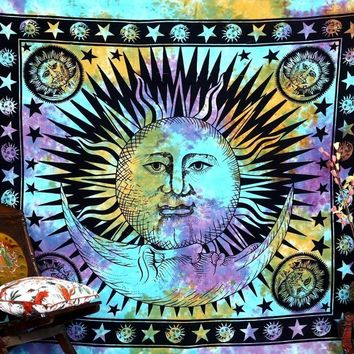 Colorful Tapestry Psychedelic Celestial Indian Sun Tapestry Wall Hanging Throw Bohemian Door Curtain 165x145cm