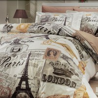 100% Cotton 3pcs Paris Brown Single Twin Size Duvet Quilt Cover Set Eiffel Vintage Theme Bedding Linens