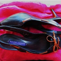 RALPH LAUREN BLACK OPEN TOE SLINGBACKS W ORANGE STRINGS!S9 B /39!MADE IN ITALY!