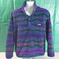 VTG PATAGONIA AZTEC SYNCHILLA Fleece Snap-T Pullover Jacket Tribal Southwest MED