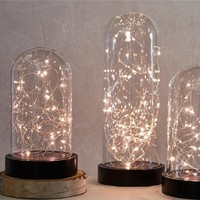 Glass Firefly Battery Operated Cloche Light