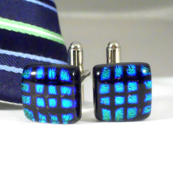 Green, Blue and Black Cufflinks, Mens Jewelry, Handmade Fused Dichroic Glass, Formal