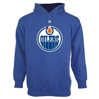 Edmonton Oilers Old Time Hockey Big Logo with Crest Pullover Hoodie – Royal Blue