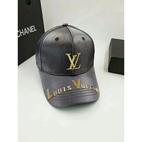 LV Louis Vuitton 2018 new men and women tide brand wild casual hat F-GQHY-DLSX Black