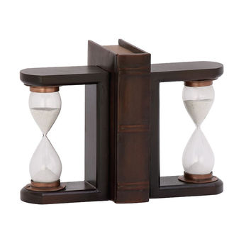 Delightful Wood Glass Brown Timer Bookend Pair