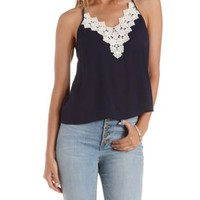 Navy Crochet-Bib Trapeze Halter Top by Charlotte Russe