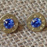 40 Caliber Bullet Stud Earrings (Brass or Nickel)
