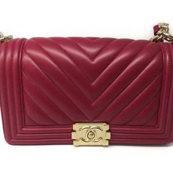 Chanel Lambskin Leather Boy Flap Chain Shoulder Bag Red 2318