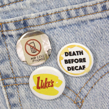 No Cell Phones Luke's Diner Sign 1.25 Inch Pin Back Button