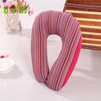 U-miss U Shaped Old Coarse Cotton Neck Pillow Stripe Transfer Printing Travel Pillows with Button Foam Body Decorative Pillow