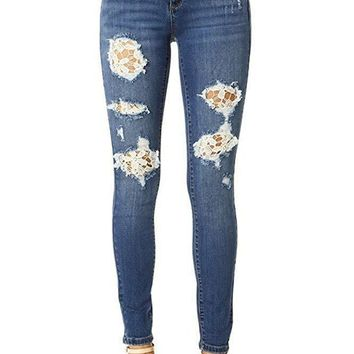 Judy Blue Distressed Mid Rise Skinny Jeans with Crochet Lace Patches