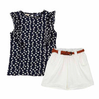 Summer Kids Baby Girls Outfits Clothes Set T-shirt Tops Sleeveless Flower Cute Short Pants Shorts Kids Girl Clothing 2PCS Set