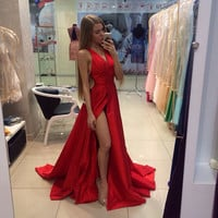 Vestidos De Fieata 2016 Sexy A line V Neck Red Long Woman Prom Dresses For Sepical Occasion Dress High Slit Evening Gowns H-156