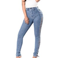 Sideview Lace-Up Jeans