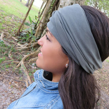 Yoga Headband, Gray Wide Headband, Women Headwrap, Running Headband, Fitness Headband, No Slip Headband, Bohemian Headband, Turban Headband