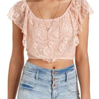 Ruffled Lace Flounce Crop Top by Charlotte Russe - Pale Peach