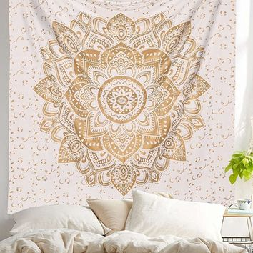 The Peyton Gold White Lotus Wall Beach Boho Tapestry