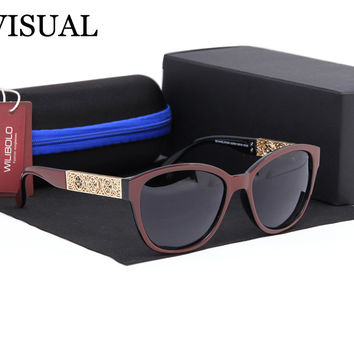 High Quality Polaroid UV Lens Anti Fatigue Cat Eye Glasses Womens,Metal Hollow Out Sunglasses Women Polarized Luxury 2016