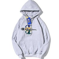 Supreme X Champion Women Men Fashion Logo Embroidery Hooded Top Sweater Pullover