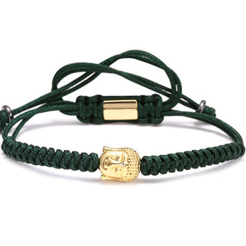 Men Bracelets,4mm 28K Gold Round Beads and Buddha Head Bead Braiding Macrame Bracelet For Men Braided Rope Friendship Bijoux green