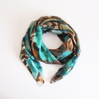 Green scarf scarves women fashion head scarf accessories for her  shawl gift ideas christmas gift fashion accessories Floral scarf square
