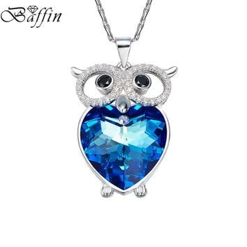 BAFFIN Blue Crystals From SWAROVSKI Owl Maxi Chokers Necklaces & Pendants for Women Girl Gifts Fashion Animal Jewelry 2017