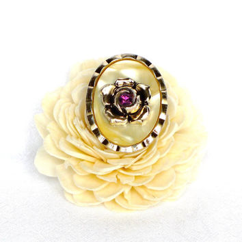 Oval Scarf Clip Gold with Flower Costume Jewelry Mother of Pearl Vintage Jewelry