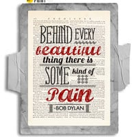 Pain and Beauty by Bob Dylan Print on Antique Unframed Upcycled Bookpage