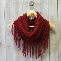 Scarf, scarves, infinity scarf, knit scarf, scarves for women, knit scarves, CHIC FRINGE burgundy | SC5