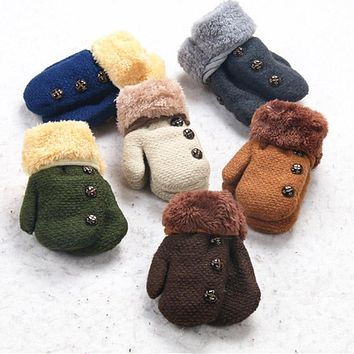 Winter Baby Boys Girls Gloves Full Finger Kids Mittens Warm Acrylic Rope Gloves Children Knitting Solid Button Mittens DW987036