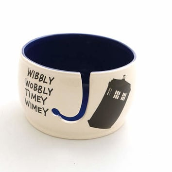Doctor Who Yarn Bowl,  Tardis , large yarn bowl , ceramic yarn bowl, wibbly wobbly timey wimey , crochet supplies , knitting gift