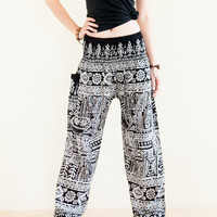 Hippie Harem Trousers Bohemian Yoga Pants Smocked Waist Ancient Tribal (Black)