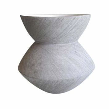 Fine-Looking Gray Ceramic Angular Scratch Vase -Sagebrook Home