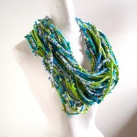 Lime Green and Turquoise Knotty Bits Infinity Scarf Eco friendly Chartreuse Blue Winter Accessories Upcycled Gypsy Clothing Urban Nomad Art Scarf