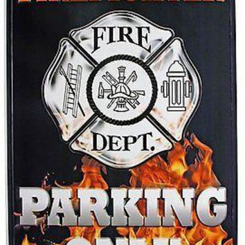 """Firefighter 12""""x18"""" Large Parking Sign Metal Embossed Aluminum Fire Department"""