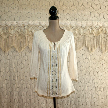 Hippie Top Peasant Blouse Cotton Shirt Embroidered Tunic Small Jersey Knit Top Casual Beige Ivory Cream Lucky Brand Womens Clothing