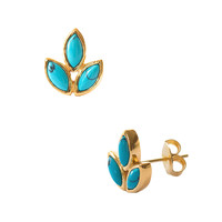 Eddera Women's Marquise Turquoise Stud Earrings - Bright Blue